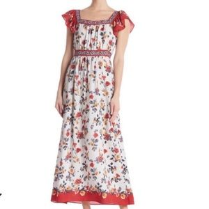 Max Studio Floral Maxi Flutter Red Women Dress NWT